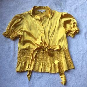 Tops - Yellow Gold Short Sleeve Silk Blouse